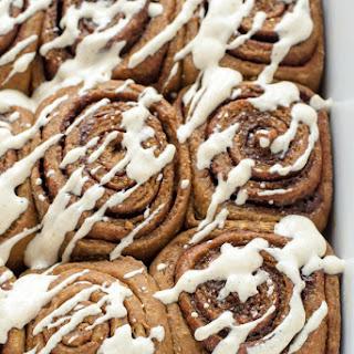 Gingerbread Cinnamon Rolls with Cinnamon Cream Cheese Frosting.