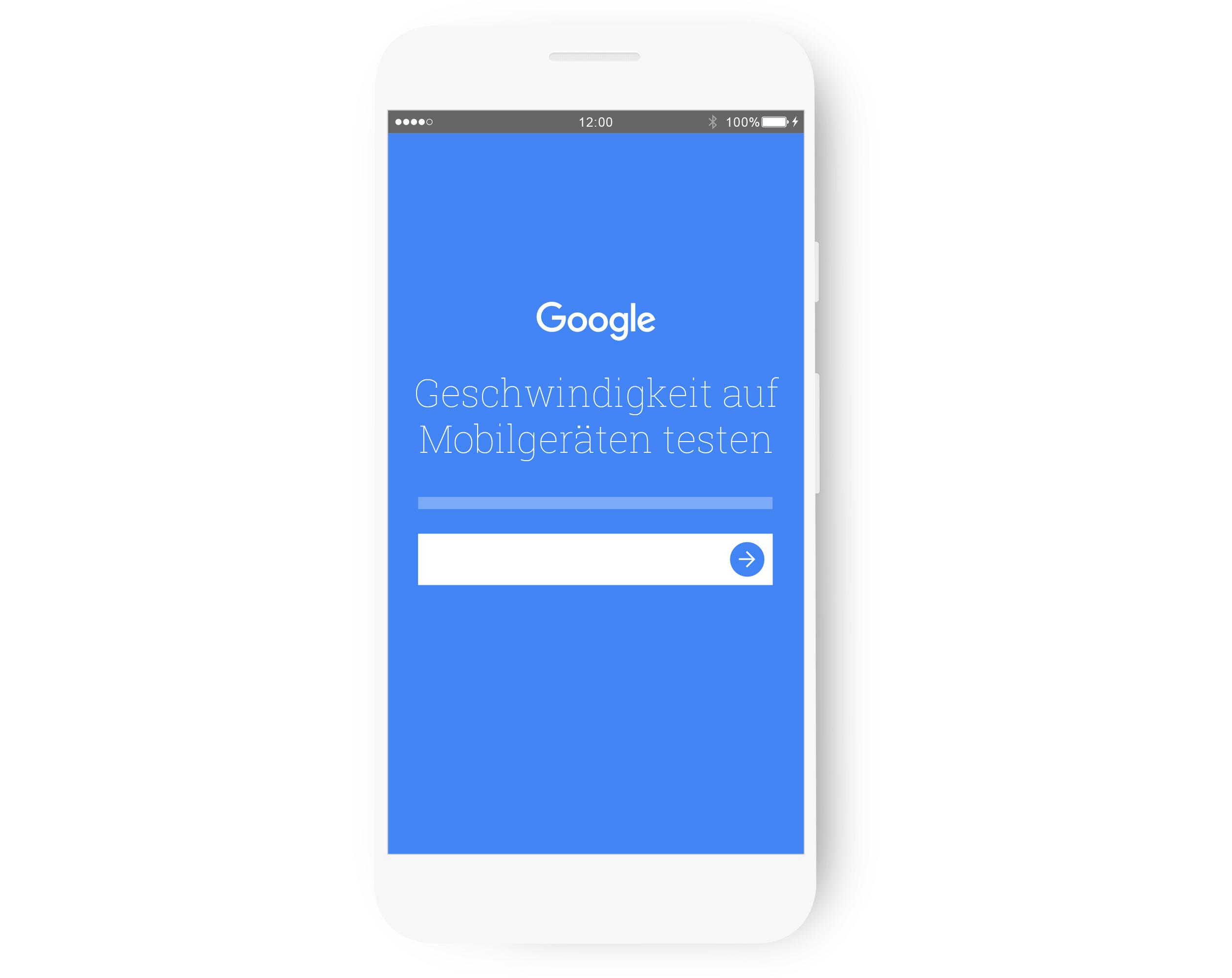 """Ein Smartphone-Display mit dem Text """"Test your mobile speed"""" (Testen Sie die Geschwindigkeit Ihrer Website auf Mobilgeräten))"""