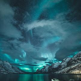 Ersfjorden AKA Mordor by Vivian Ebeltoft - Landscapes Cloud Formations ( northern lights, aurora borealis, mountains, scandinavia, mordor, north, norway, nordic, aurora )