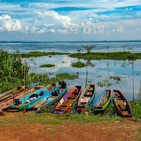 Thai Fishing Boats Seascape North Thailand by James Morris - Transportation Boats ( seascape, fishing, north, thailand, thai, boats )