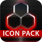 GLOW RED icon pack HD 3D