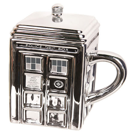 Doctor Who Silver Ceramic Tardis Mug with Lid