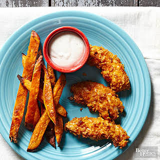 Breaded Chicken Strips and Sweet Potato Fries.