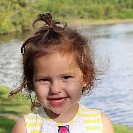 TODDLER BY THE RIVER by Mike Zegelien - Babies & Children Toddlers ( toddler, baby, river, girl, portrait, water,  )