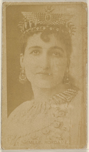 Mlle. Rordame, from the Actors and Actresses series (N45, Type 8) for Virginia Brights Cigarettes