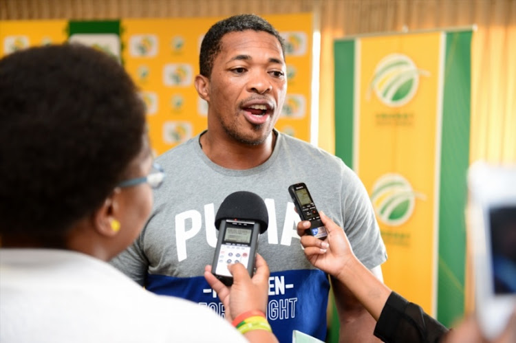 Makhaya Ntini (Ambassador) during the Africa T-20 Cup announcement at the Longroom at the Wanderers on August 27, 2015 in Johannesburg.