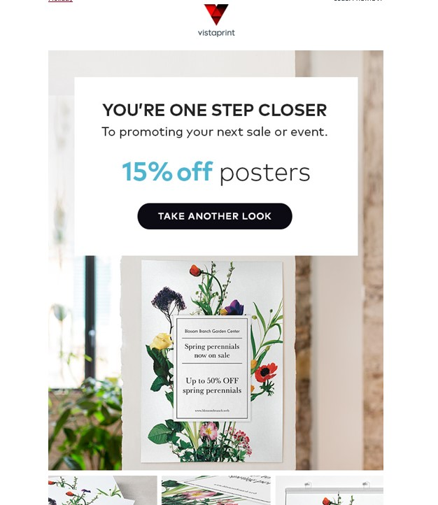 an example email from vistaprint showing how companies can use website behaviours to segment audiences