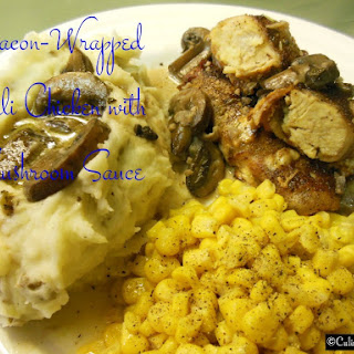 Bacon-Wrapped Chili Chicken with Creamy Mushroom Sauce.