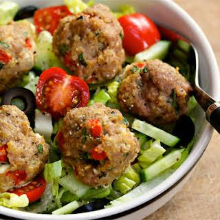 Greek Red Pepper And Feta Turkey Meatball Salad.
