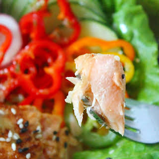Asian Salmon Salad with Ginger-Cilantro Lime Dressing.