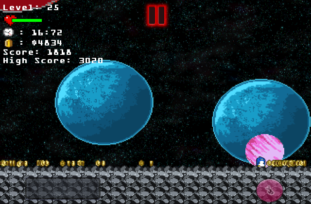 Скриншот The Penguin In Space - pixel game Un juego Difícil