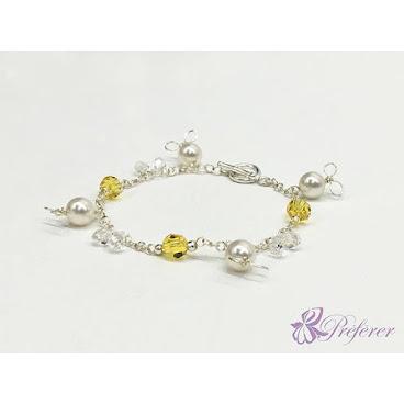 [CSS019] 珍珠小兔水晶手鏈(黃)