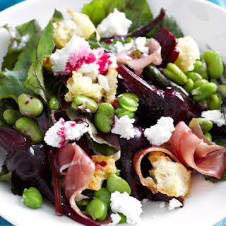 Fava Bean, Baby Beet and Goat Cheese Salad.