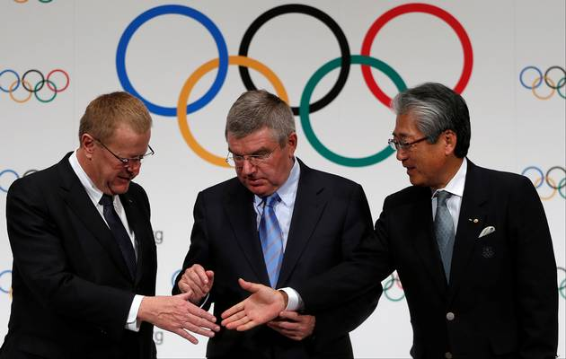 International Olympic Committee (IOC) vice-president John Coates, IOC president Thomas Bach and Japanese Olympic Committee president Tsunekazu Takeda. Picture: REUTERS