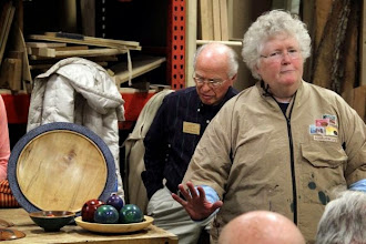 "Photo: Margaret experimented on scraps and imperfect bowls.  But, wait, isn't that her collection of spheres (dare one say ""bowl of balls""?) that won Best of Show at Montpelier last year?  A perfect experiment!"