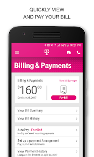 Pay your bill with the T-Mobile app Open the app and tap BILL. Select Make a payment. Enter Amount to pay. Select Payment method. Select Date. Tap Agree and Submit. Make an EIP payment with the T-Mobile app Open the app and tap BILL. Scroll to tap Equipment installment plans. Select the Device Name and Mobile Number. Tap MAKE A PAYMENT.