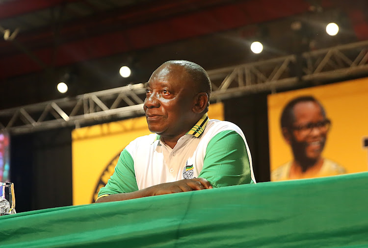 An emotional Cyril Ramaphosa after being announced as the new ANC leader.