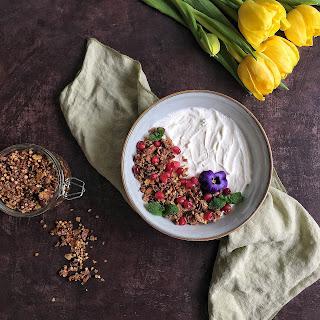 Buckwheat, Oatmeal, Almond & Pomegranate Molasses Granola.