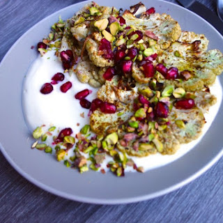 Grilled Cauliflower with Pomegrante and Pistachios
