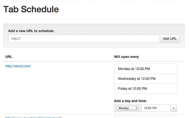 Tab Schedule