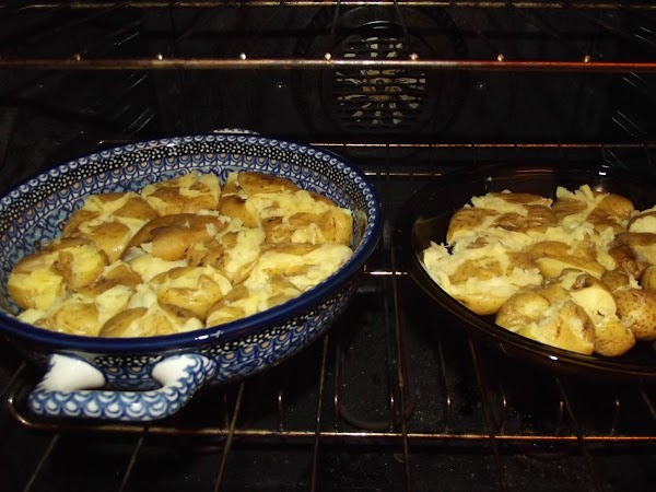 Into the oven the warm the potatoes back up