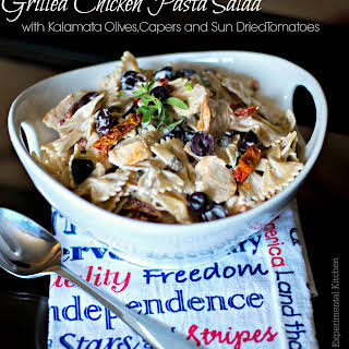 Grilled Chicken Pasta Salad with Kalamata Olives, Capers and Sun Dried Tomatoes.