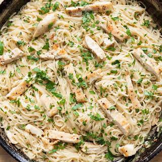 Chicken Scampi with Angel Hair Pasta.