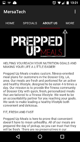 android Prepped Up Meals Screenshot 2