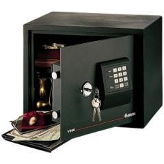 Sentry Safe V360: Large Electronic Security Safe 0.89 ft3 Key, Electronic Lock 2 Live-locking Bolt s Internal Size 11.57 x 14.72 x 9.09 Overall Size 12.6 x 15 x 12.6 Black Steel