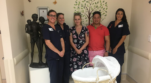 Zoe Marshall and William Duff are flanked by Narrabri Maternity Ward nurses Renice Baker, Rachel Duggan and Jordy Guest. at the presentation of the Cuddle Cot.