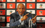 Premier Soccer League chairman Irvin Khoza addresses the media during a press conference at the League's headquarters in Parktown, Johannesburg on April 9 2019.