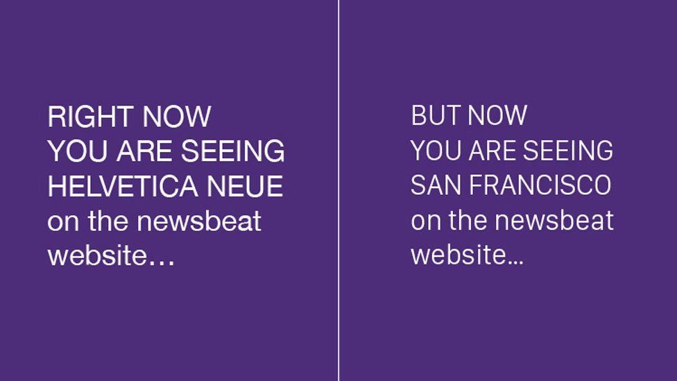 Helvetica Neue versus San Francisco