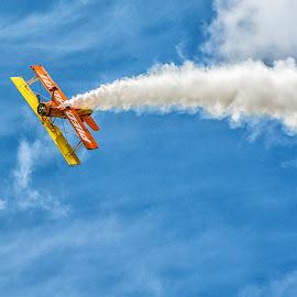 Inverted roll by Joe Saladino - Transportation Airplanes ( airshow, smoke trail, airplane, biplane, aerial acrobatics )