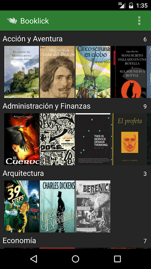 Booklick: captura de pantalla