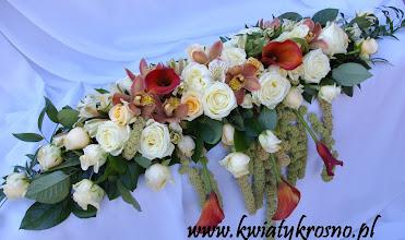 Photo: Kompozycja z żywych kwiatów na stół Pary Młodej