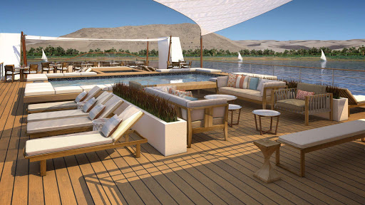A look at the sun deck on Viking Ra, the river ship that can glide by thousand-year-old temples, villages and stunning landscapes in the course of an afternoon.
