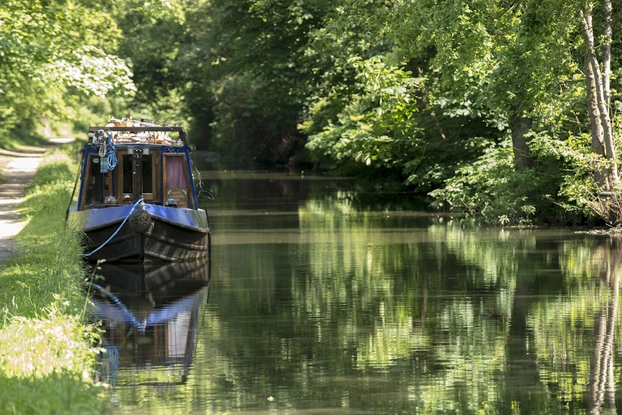 Tranquility by Andrew Robinson - Landscapes Waterscapes ( barge, tranquility, canal, narrow boat, waterway )