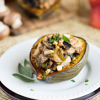 Mushroom, Apple and Walnut Stuffed Acorn Squash