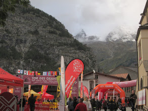 "Photo: ""Endurance Trail, 330 km"" - It's a grueling multi-day race through the high Italian Alps. It ends in Courmayeur. The first runner is due in an hour or so!"