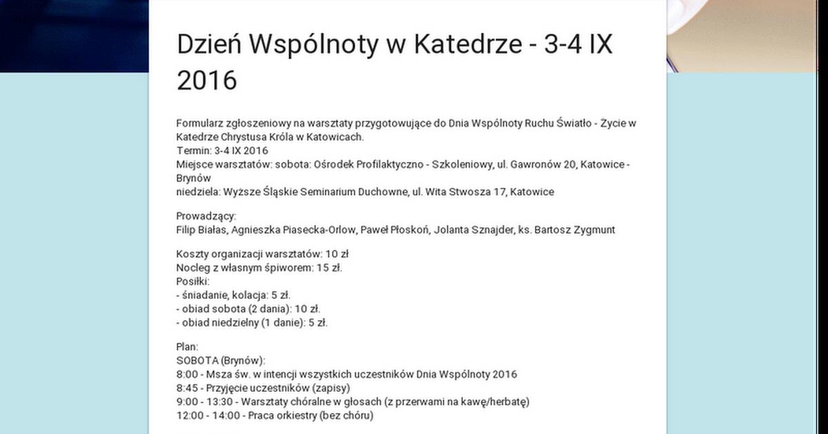 Dzień Wspólnoty w Katedrze - 3-4 IX 2016