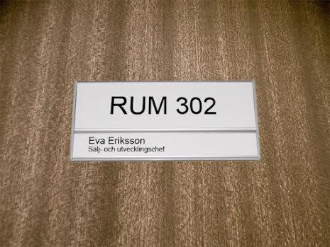 Rumsskylt 1-panel 204x62+31mm