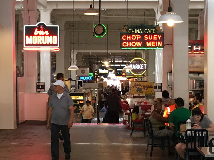 A look down the main throughway of Grand Central Market.