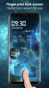 Fingerprint Lock Screen with Clock Dashboard - náhled