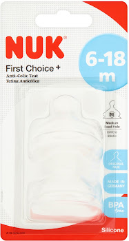 Nuk First Choice Plus Silicone Teats - Size 2, Medium, 6-18 Months
