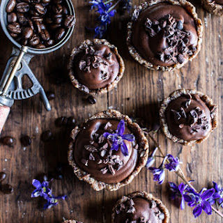 Mini Vegan No-Bake Chocolate Mocha Fudge and Coconut Tarts.