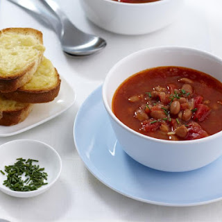 Tomato and Bean Soup with Cheese Croutons