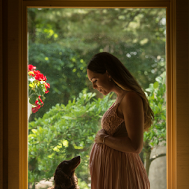 The first baby and the one to come by Amelia Falk - People Maternity ( natural light, michigan, maternity, silhouette, woman, pregnancy, pink, dog, portrait )