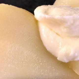 Poached Pears with Mascarpone Cream.