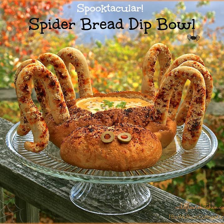 Spooktacular Halloween Spider Bread Bowl Dip