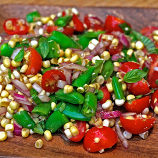 Amagansett Raw Corn, Tomato, and Snap Pea Salad Recipe